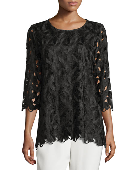 Caroline Rose Half-Sleeve Leaf-Cut Tunic & Silk Crepe