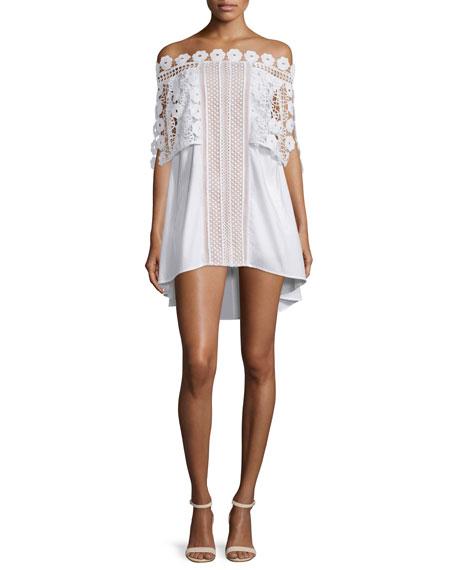 Self Portrait Serena Off-the-Shoulder Poplin Dress, White