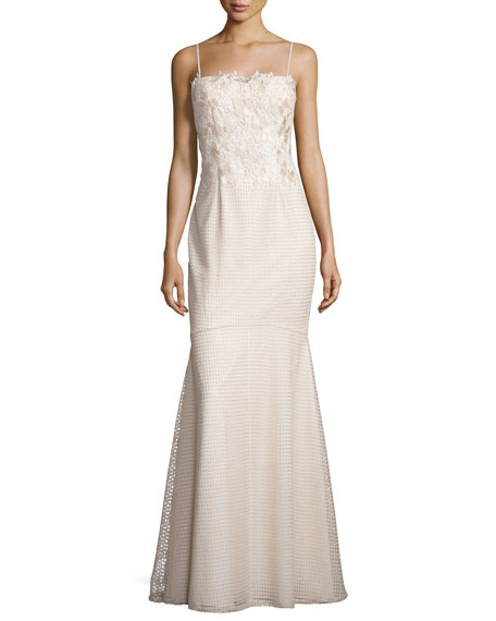 Aidan Mattox Spaghetti Lace-Top Mermaid Gown