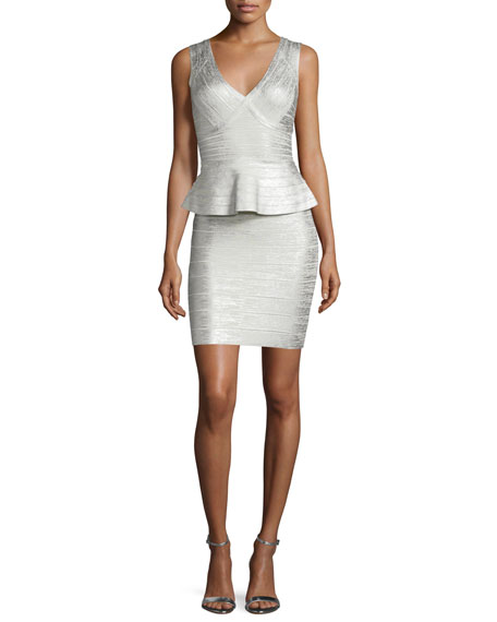 Herve Leger Sleeveless Metallic Peplum Dress, Silver Combo