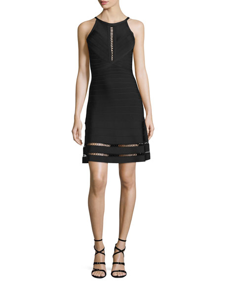 Herve Leger Open Lace-Up Bandage-Knit Halter Dress, Black