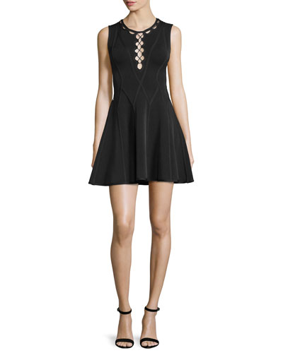 Sleeveless Fit-&-Flare Cutout Dress, Black