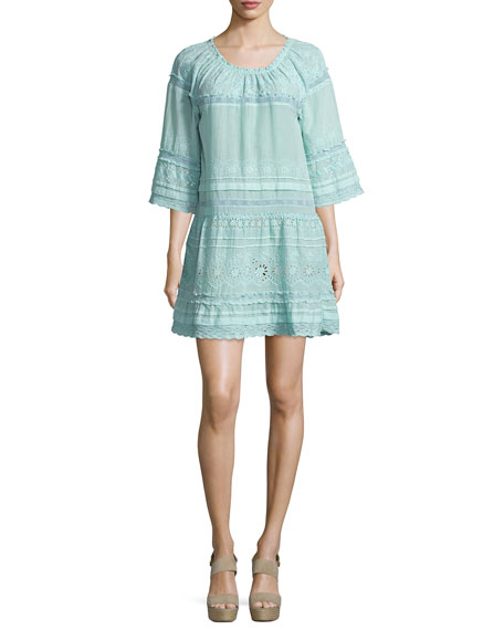 Calypso Junomia Embroidered Cotton Dress, Blue Pattern