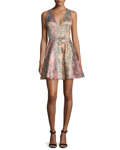 Alice + Olivia Varita Printed Fit-and-Flare Dress, Multicolor