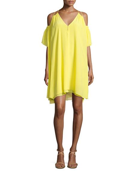 Apiece Apart Appolonia Cold-Shoulder Sun Dress, Yellow