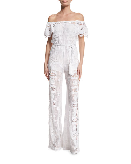Miguelina Brisa Off-The-Shoulder Lace Jumpsuit Coverup
