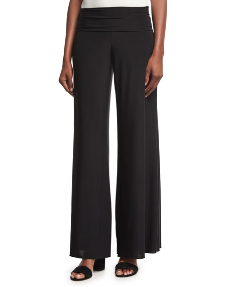 NIC+ZOE Feel Good High-Waist Wide-Leg Pants, Black Onyx