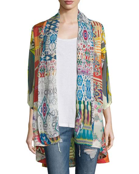Mix-Print Kimono Jacket, Plus Size