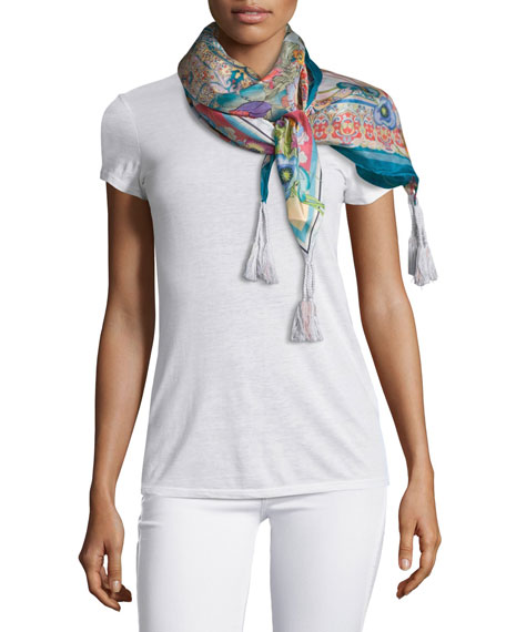 Ajamite Floral-Print Silk Scarf