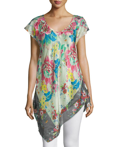 Tropical Flower Short-Sleeve Tunic, Women's