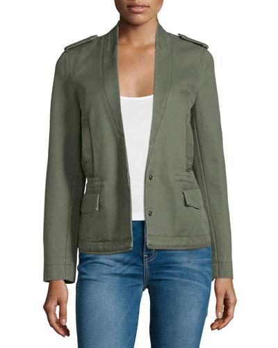 Cotton Twill Snap-Front Jacket, Khaki