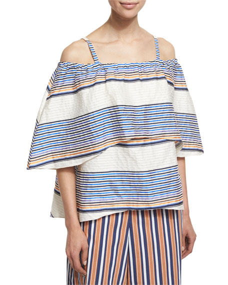 Tanya Taylor Ione Textured Boxy Cold-Shoulder Top, Ivory/Cobalt