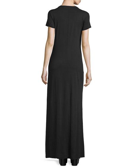 Lutz Short-Sleeve Cotton Maxi Dress, True Black