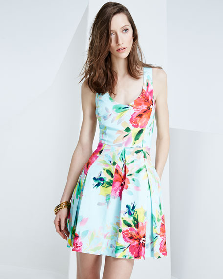 Floral-Print Fit-&-Flare Dress, Multi Colors