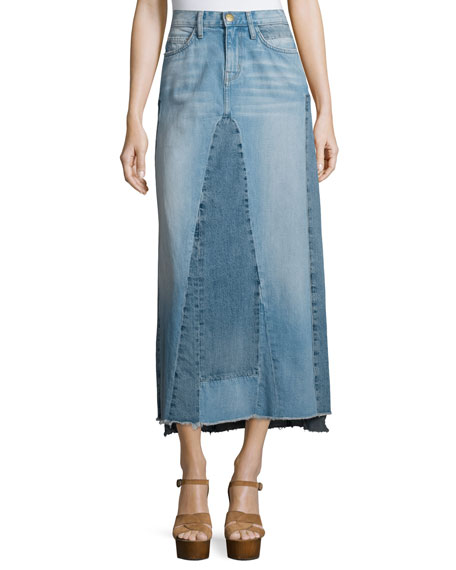 Current/Elliott The Reconstructed Long Denim Skirt, Recon