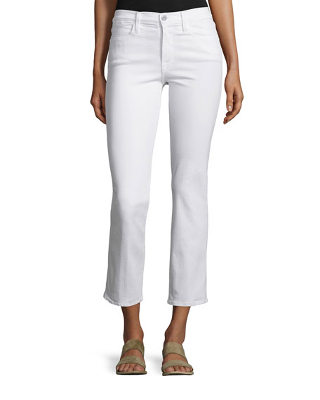 FRAME Le High Straight-Leg Cropped Jeans, Blanc