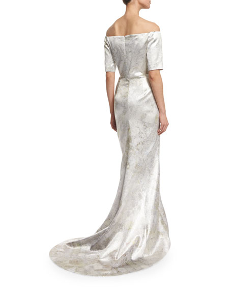 Off-The-Shoulder Column Gown, Aluminum