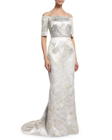 Off-The-Shoulder Column Gown, Aluminum