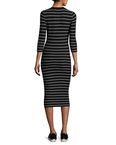 Delissa B Prosecco Striped Midi Slim Dress