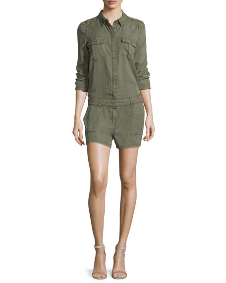 Paige Denim Evia Long-Sleeve Romper, Desert Olive