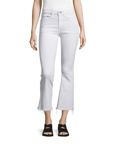 Mid-Rise Cropped Flare-Leg Jeans  Bright White