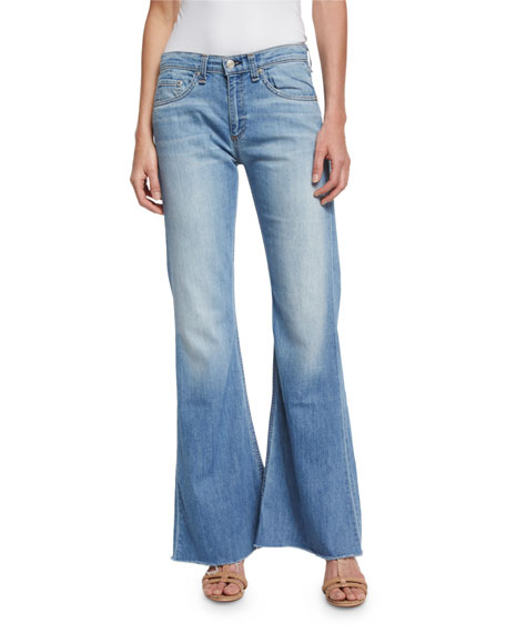 rag & bone/JEAN Beach Mid-Rise Bell-Bottom Jeans, Ryder
