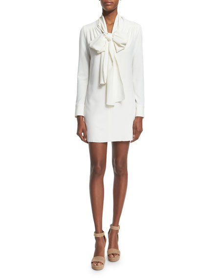 See by ChloeLong-Sleeve Tie-Neck Mini Dress, White