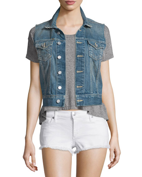 True Religion Gwen Button-Front Denim Vest, Blue Z