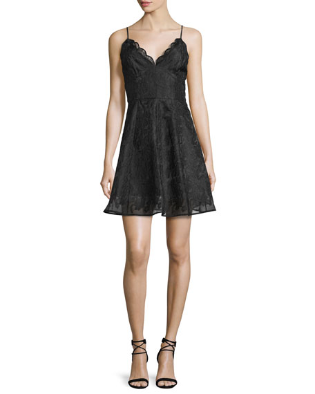 Keepsake Sundream Sleeveless Lace Mini Dress, Black