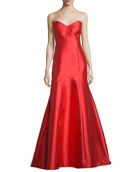 Majesty Sweetheart-Neck Mermaid Gown, Vermillion