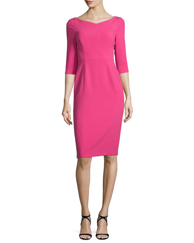 3/4-Sleeve V-Neck Sheath Dress, Mermaid's Kiss
