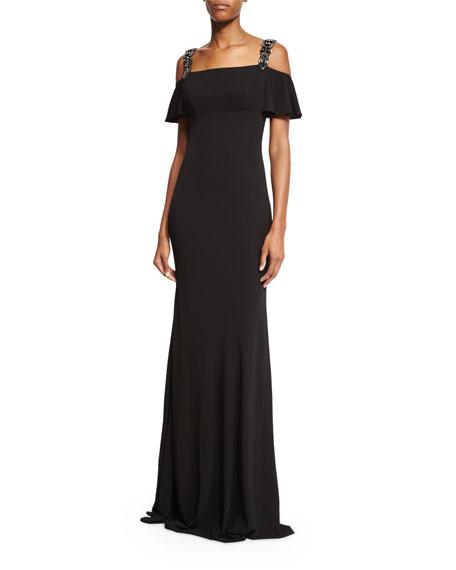 David Meister Cold-Shoulder Embellished Gown, Black