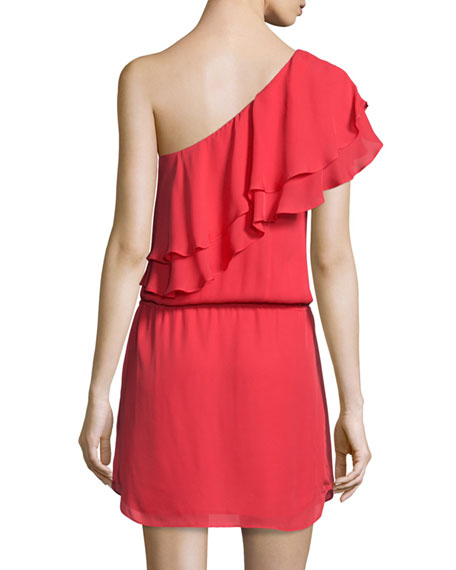 Silk One-Shoulder Ruffle Dress, Battle Red