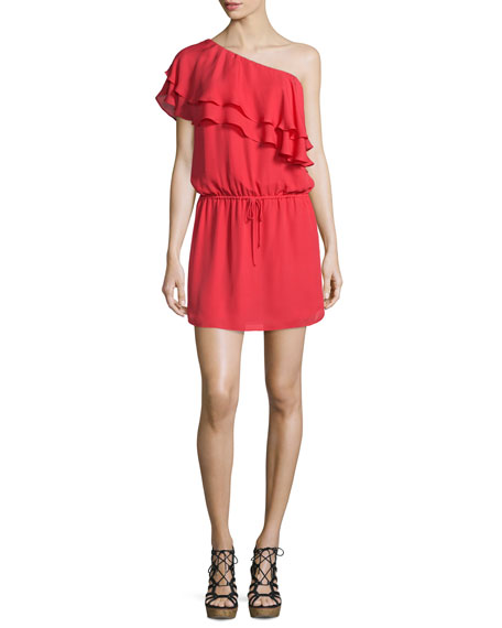 Haute Hippie Silk One-Shoulder Ruffle Dress, Battle Red
