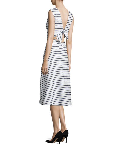 sleeveless striped a-line dress, ink