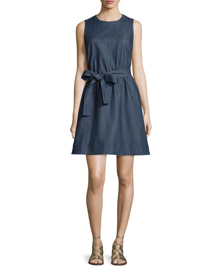 kate spade new york tie-waist denim fit & flare dress