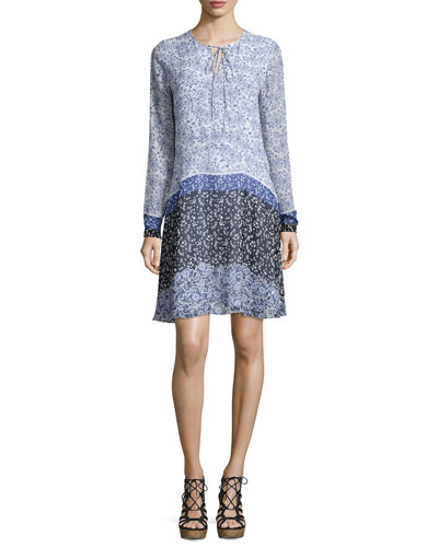 Long-Sleeve Tie-Neck Floral-Print Silk Dress, Blue/Multi