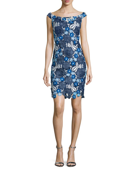 Aidan Mattox Off-The-Shoulder Lace Cocktail Dress, Blue/Multi