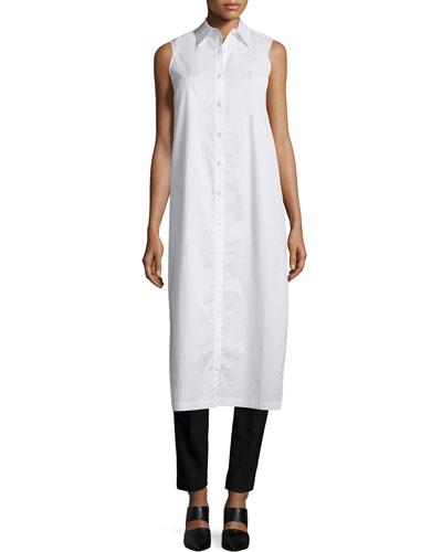 Sleeveless Long Split-Back Poplin Shirt, White