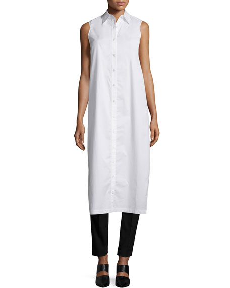DKNY Sleeveless Long Split-Back Poplin Shirt, White