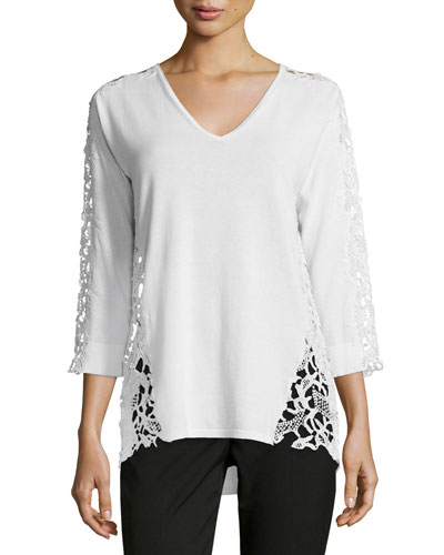 3/4-Sleeve Lace-Inset Sweater, Blanc