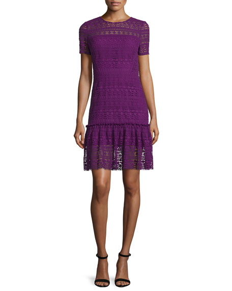 Elie Tahari Jacey Lace Short-Sleeve Dress, Garnet