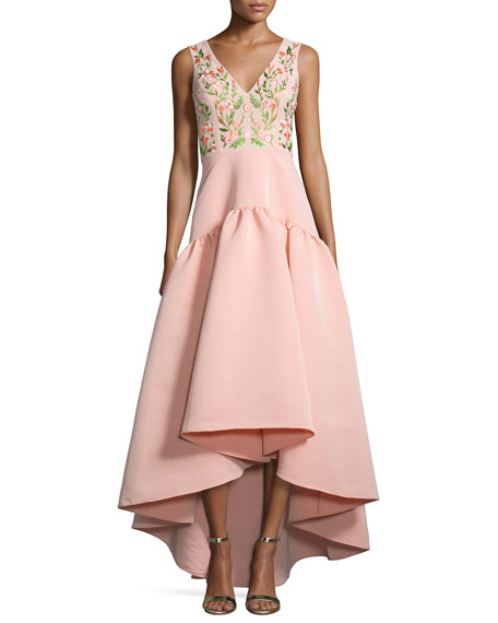 Marchesa Notte Sleeveless Floral-Embroidered High-Low Dress, Blush