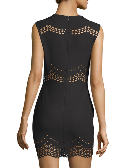 Merna Scalloped Lace-Inset Mini Dress, Black
