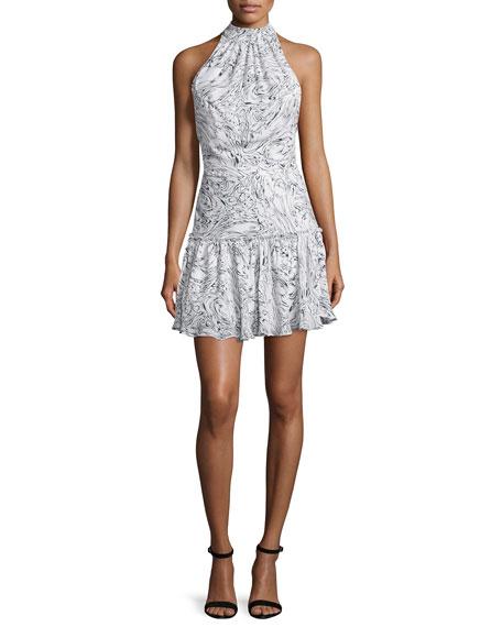 Wind Carlita Halter-Neck Mini Dress, Ivory/Navy