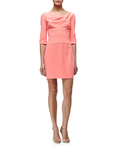 Draped-Neck 3/4-Sleeve Sheath Dress, Fiji