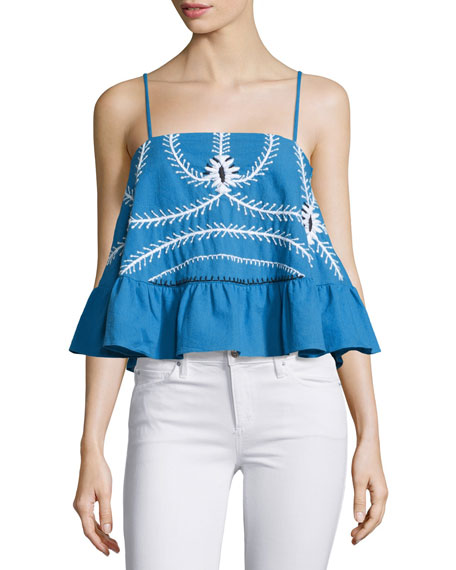 Piper Sumatra Embroidered A-Line Top, Periwinkle