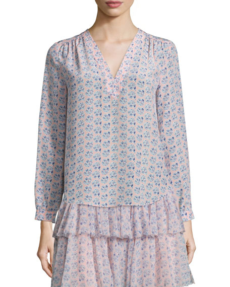Rebecca Taylor Amanda Floral Silk Long-Sleeve Blouse, Peach