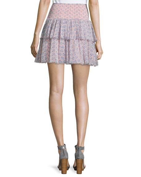 Rebecca Taylor Amanda Floral Silk Tiered Skirt, Peach