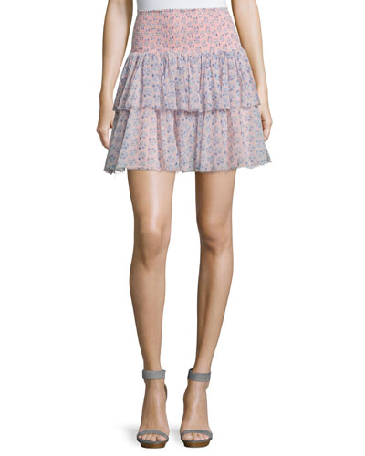Amanda Floral Silk Tiered Skirt, Peach